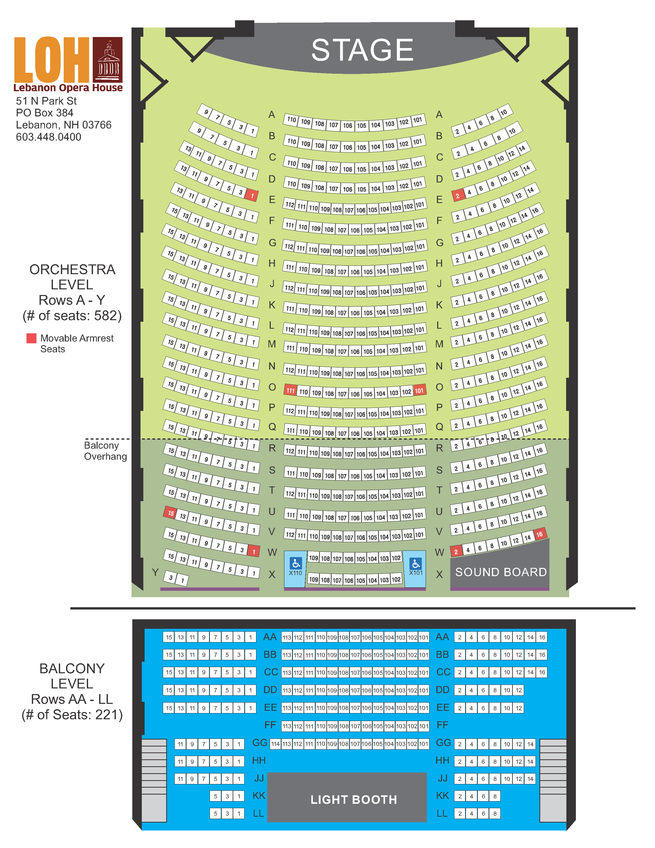 Lebanon Opera House Seating Chart